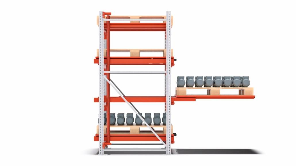 schubfach schwerlastregal flex vollauszug festes fach 1100mm staender seitenansicht material