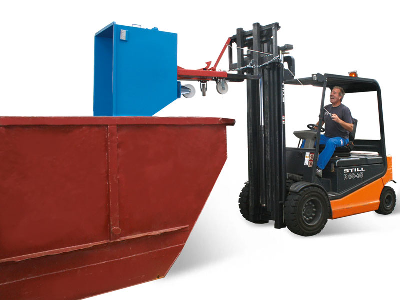 Compact tipping skip, Ideal as container for machines