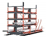 Long material storage - Bartels Roll-Out Rack with manual extraction
